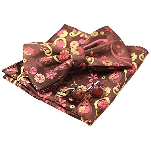 e Floral Pre-tied Bow Tie, Hanky and Cufflinks Set, Coffee+Yellow ()