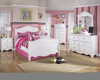 Exquisite Youth Full Size Sleigh Bed Room Set in White Color, Full Bed, Dresser, Mirror, Chest, Nightstand