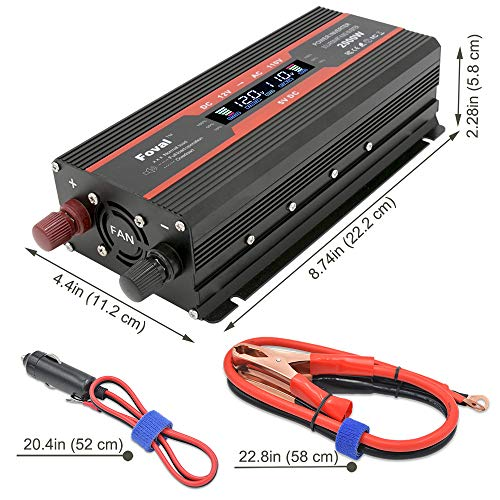 Cantonape 1000W/2000W(Peak) Car Power Inverter DC 12V to 110V AC Converter with LCD Display Dual AC Outlets and Dual USB Car Charger for Car Home Laptop Truck (Black) by Cantonape (Image #2)