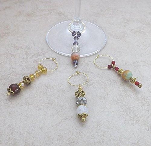 Precious Bridal And Formal - Semi Precious Gemstone Crystal Wine Glass Charms Set of 4