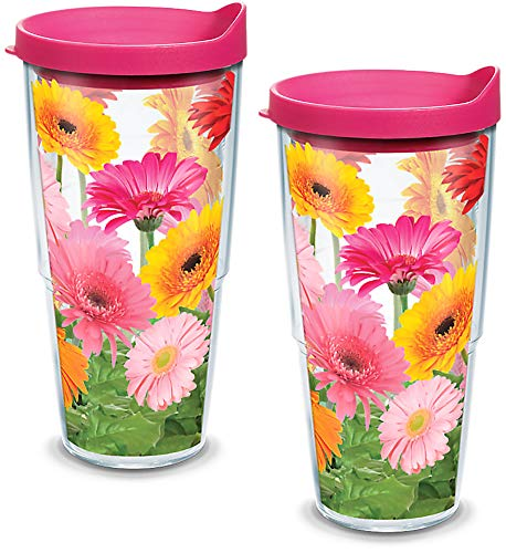 (Tervis 1076393 Gerbera Daisies Insulated Tumbler with Wrap and Fuschia Lid 2 Pack - Boxed, 24oz, Clear)