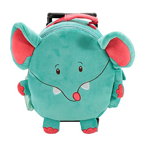 Kids Trolley Bag - Animal Adventure Jolley Trolley | Plush Backpack | Blue and Red Elephant | 5