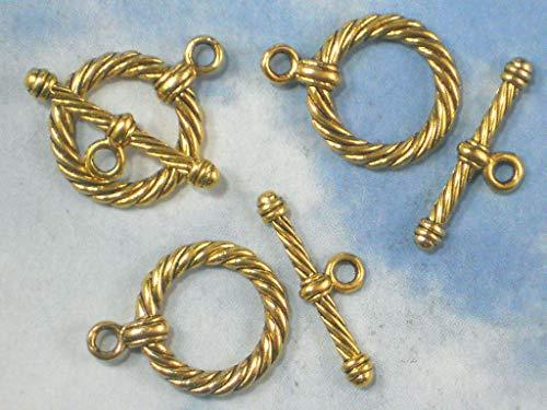- Bulk 25 Sets Rope Round Circle Toggle Clasps Antiqued Gold Tone