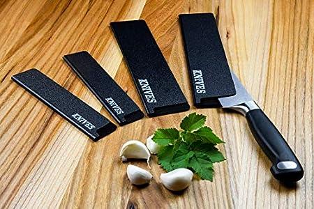 Knives - Juego de 4 protectores universales para cuchillos, cuchillos de pan, jamonero, cuchillo de verduras, cuchillo de cocinero, perfecto como protector de hoja