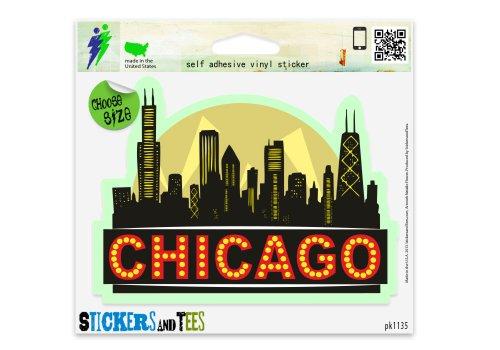 Chicago Sticker (Chicago City Skyline Black Vinyl Car Bumper Window Sticker 2