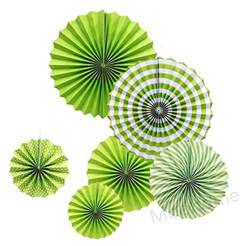 - Moohome Green Hanging Paper Fans Set,Colorful Round Pattern/Paper Garlands for Party/Wedding/Birthday/Festival/Christmas/Event 6pc/Set