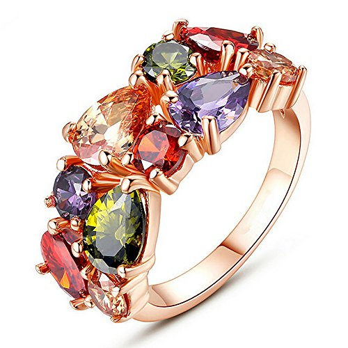 (Sinlifu 18K Rose Gold Plated Silver Ring Amethyst Champagne Peridot Cubic Zirconia Size 6-9 (Rose Gold,)