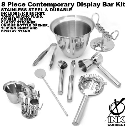 Pieces Contemporary 8 (8 Piece Stainless Steel Contemporary Bar Set With Display Stand)