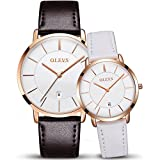 OLEVS 2pcs Couple Quartz Automatic Waterproof UltraThin Genuine Leather Band Wristwatches Set for His and Her, Valentines Gift