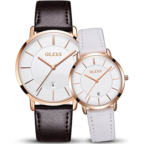 OLEVS 2pcs Couple Quartz Automatic Waterproof UltraThin Genuine Leather Band Wristwatches Set for His and Her, Valentines Gift by OLEVS
