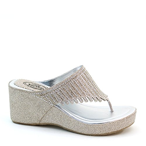 New Brieten Womens Studded Thong Flip-flop Wedge Platform Comfort Slide Sandals Champagne 5eab2SB
