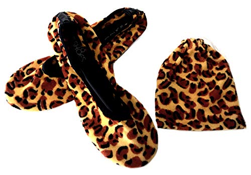 (Shoes 18 Women's Foldable Portable Travel Ballet Flat Shoes w/Matching Carrying Case 1818A Leopard Micro 9/10)