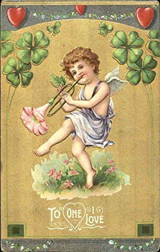 Cherub with flower trumpet and four-leaf clovers Cupid Original Vintage Postcard