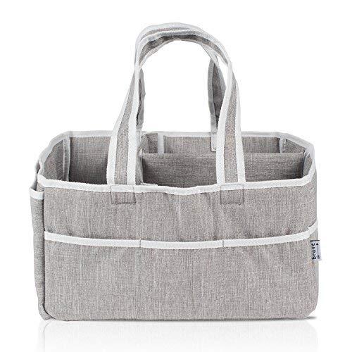 Baby Diaper Caddy Organizer - Canvas Changing Table Organizer and Storage Bin for Nursery Organization | Portable Baby Organizer for Car Travel | Baby Shower Gift Basket for Newborn Essentials ()