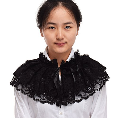 BLESSUME Lace Neck Ruff Collar White (Black)