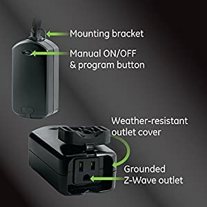 GE Enbrighten Z-Wave Plus Smart Plug, 1 On/Off Outlet, Weather-Resistant, Built-in Repeater/Range Extender, Zwave Hub Required, Works with SmartThings, Wink, Alexa, 14284, Black Outdoor Switch