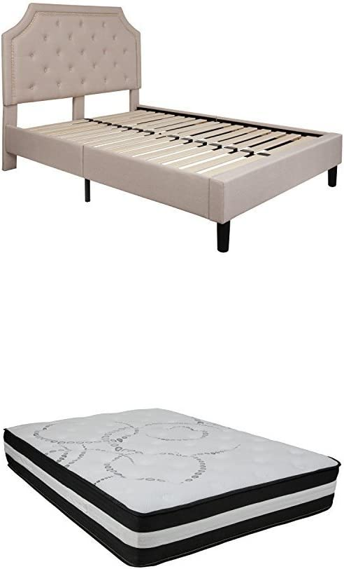 Flash Furniture Brighton Full Size Tufted Upholstered Platform Bed in Beige Fabric with Pocket Spring Mattress