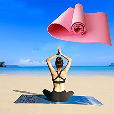 """Multi-Purpose Pilates & Yoga Mat - Meanhoo 23"""" x 63"""" Non-slip Anti-tear Health Fitness Yoga Pad for Home Gym, 4mm Thick (Pink)"""