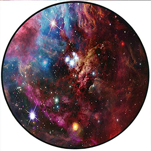 Short Plush Round Carpet Space Space Nebula with Star Cluster in The Cosmos Universe Galaxy Solar Celestial Zone Teal Red Pink Living Room Computer Chair 78.4