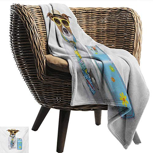 EwaskyOnline Dog Family Blanket Traveler Funny Dog Dressed as a Tourist with Hat Glasses Necktie and a Floral Suitcase Throw Blanket Adult Blanket 93