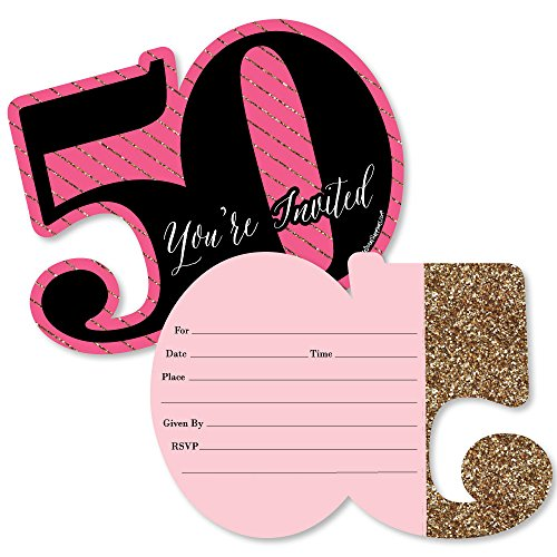 Chic 50th Birthday - Pink, Black and Gold - Shaped Fill-in Invitations - Birthday Party Invitation Cards with Envelopes - Set of 12