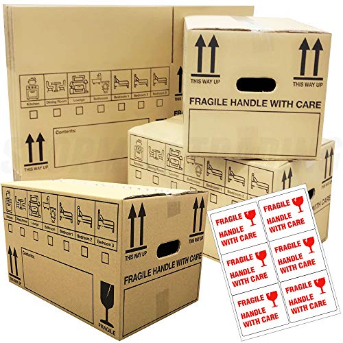 10 Strong Cardboard Moving Packing Storage House Boxes Double Walled with Fragile 47cm x 31.5cm x 27cm 44 litres