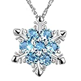 Snowflake Pendant Necklace with Blue Simulated Aquamarine Zirconia Crystals 18 ctWhite Gold Plated 18""