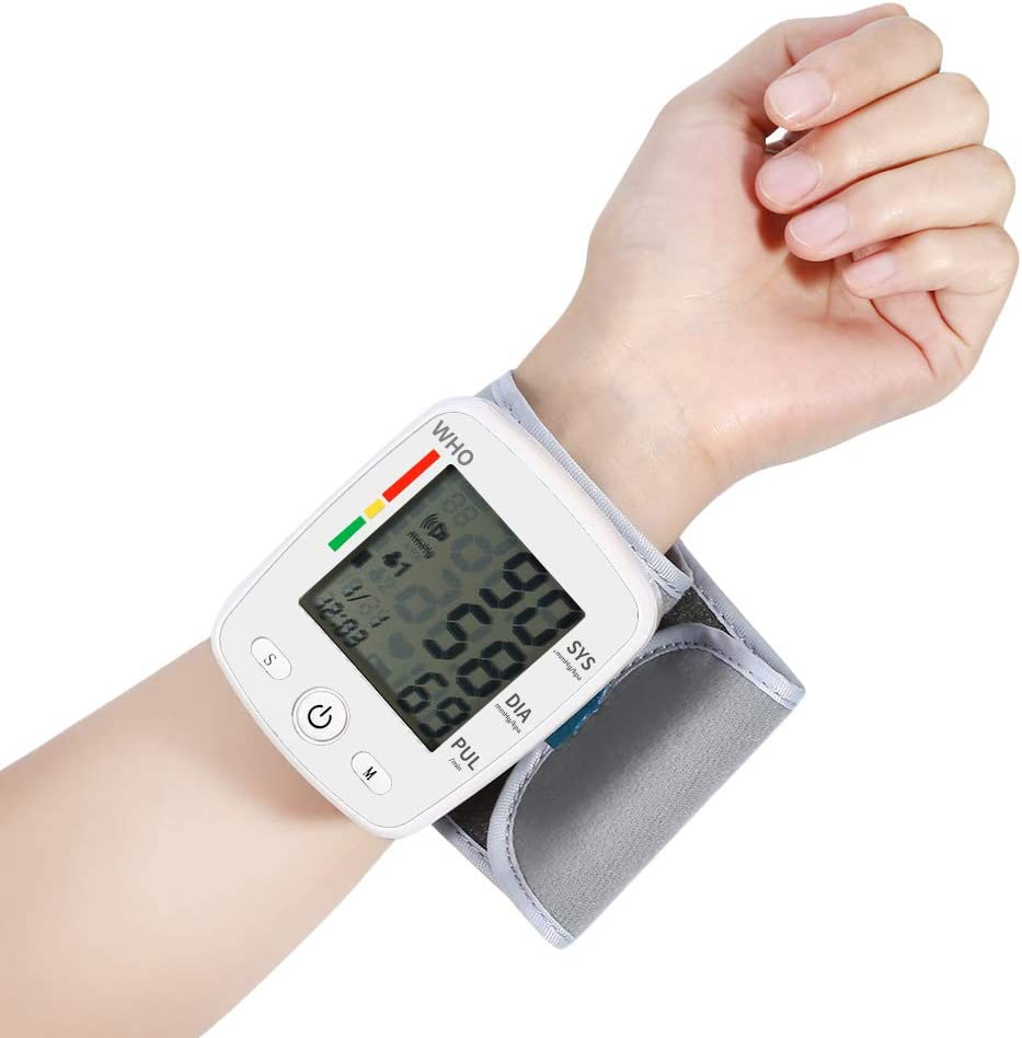 CK-W355 Wrist Blood Pressure Monitor Tonometer LCD Digital Display Automatic Blood Pressure Meter Household Use Easy-Wrap Cuff