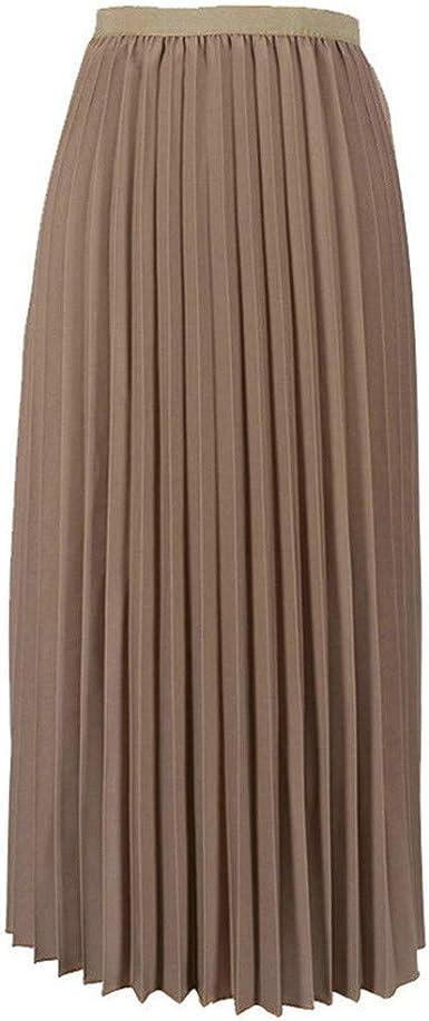 Holywin - Falda Plisada para Mujer, Color Liso Caqui Talla única ...