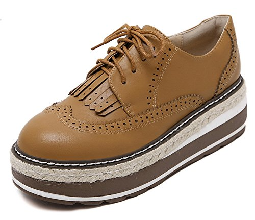 Scarpe Da Donna Oxford Con Plateau Quotidiano In Pelle Oxford Con Nappe Marrone