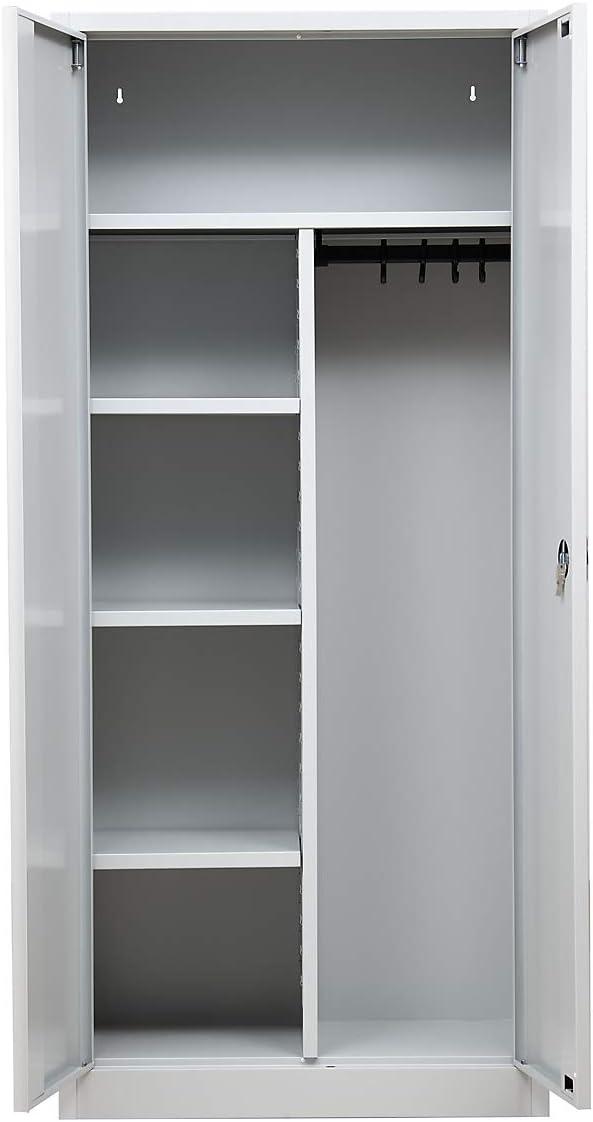 Grau HxBxT 180 x 80 x 38 cm Aktenschrank Schrank Fl/ügelt/üren Schwingt/üren Metallschrank Stahlschrank Certeo Garderobenspind