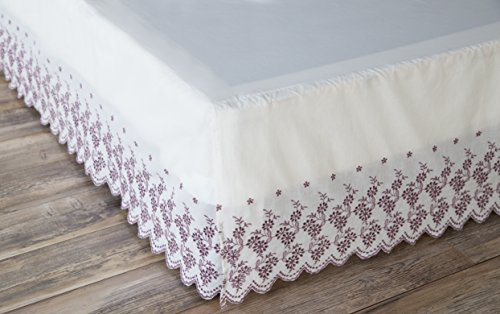 """North End Decor Gathered Lace, Twin, Floral Border Bed Skirt 39"""" x 75"""" x 15"""", White"""