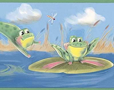 Green Frogs Jumping in the Pond Blue Wallpaper Border for Kids, Roll 15' x 7''