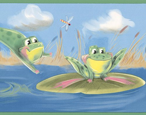 Border Frog (Green Frogs Jumping in the Pond Blue Wallpaper Border for Kids, Roll 15' x 7'')