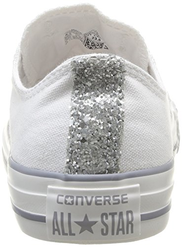ee46c778ee4ef7 Converse Womens Chuck Taylor All Star Femme Toecap Sparkle OX Trainers  382580 3 Blanc 3.5 UK