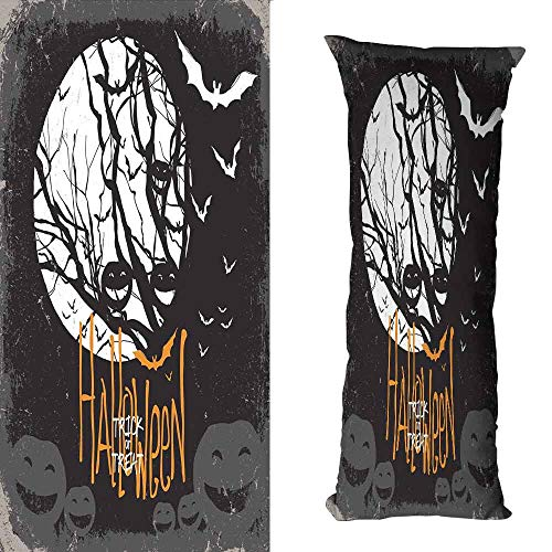 DuckBaby Living Room Sofa Hug Pillowcase Vintage Halloween Halloween Themed Image with Full Moon and Jack o Lanterns on a Tree Machine Washable W19.5 xL59 Black White -