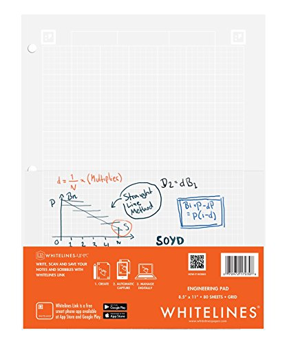 Case of 24 Whitelines App Engineering Computational Pads, 8.5''x11'', Grey Grid White Paper, 80 sheets, 3 Hole punch, Enclosed Grid printing by WhiteLines (Image #8)
