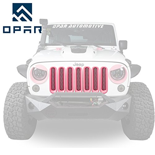 [Upgrade Clip In Version] Opar Shiny Pink Front Mesh Grille Insert For  2007 2015 Jeep Wrangler JK U0026 Wrangler Unlimited (Pack Of 7)