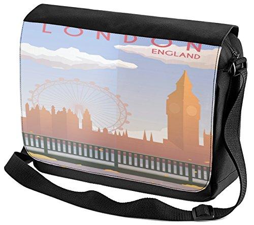 Umhänge Schulter Tasche Retro Metropole London England bedruckt