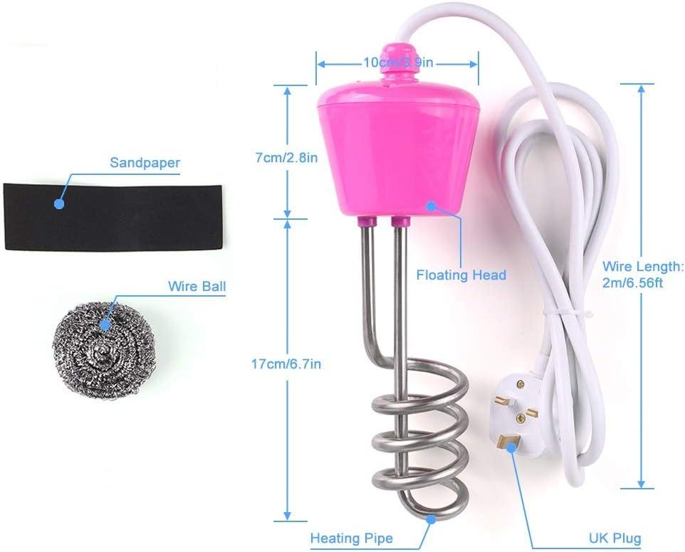 Calentador de Agua Inmersi/ón 3000W 220V Calentador de Agua El/éctrico de Acero inoxidable Calentador de inmersi/ón en Espiral Elemento de Calefacci/ón de Agua
