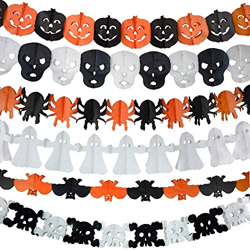6Pcs Precious Halloween Paper Chain Garland Decoration Prop Pumpkin Bat Ghost Spider Skull Shape OH -