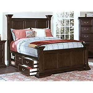 NCF Furniture Toledo Poster Bed with Storage in Sable