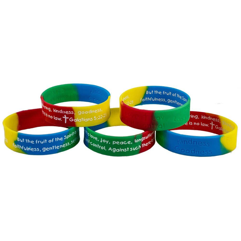 Sterling Gifts Fruit of the Spirit Bible Quote Silicone Bracelet (Pkg of 12)