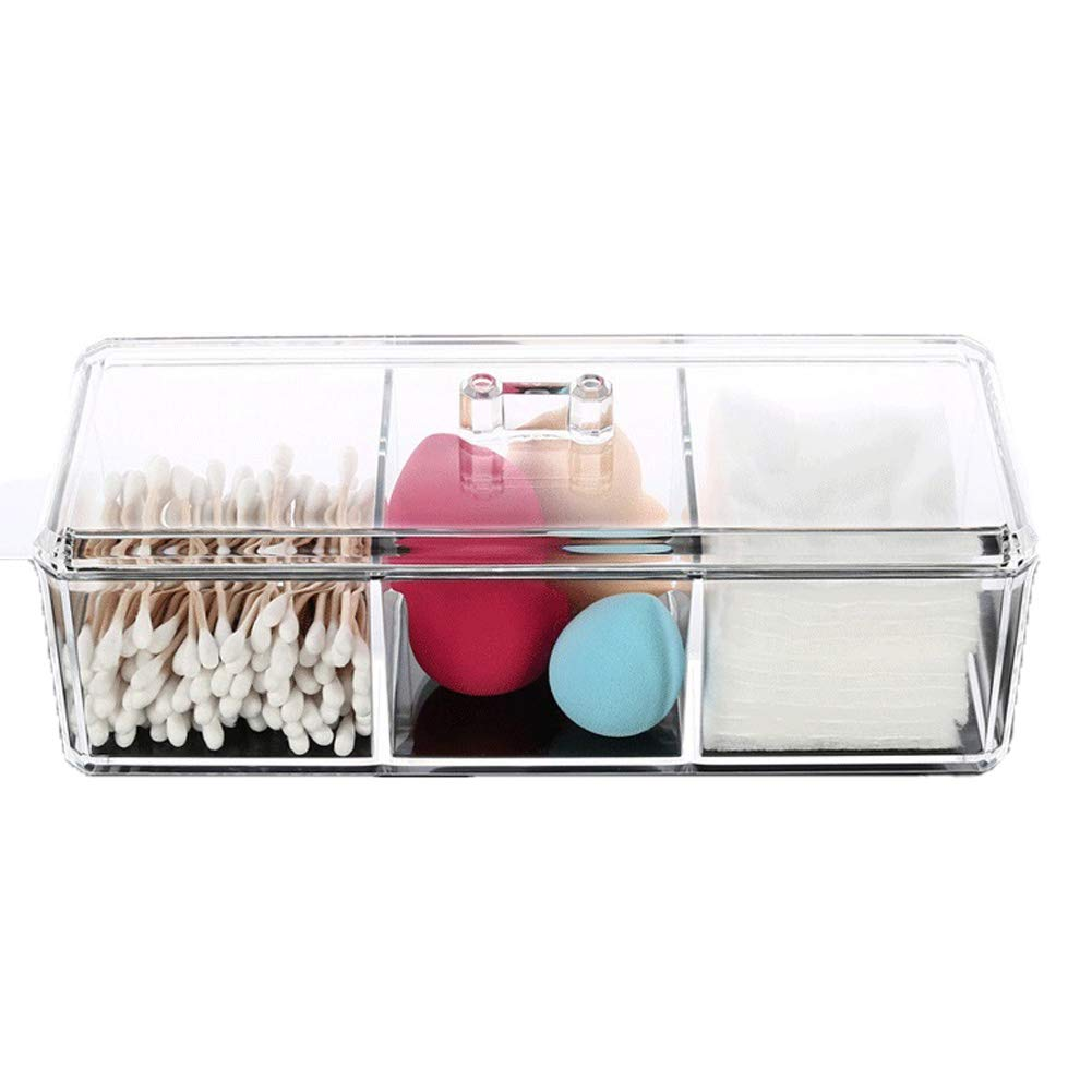Acrylic Cotton Swab Container Holder Canister - Clear Acrylic Cotton Pad Container Cotton Swab Organizer Qtip Dispenser Vanity countertop Organizer Box for Bathroom Storage Canister