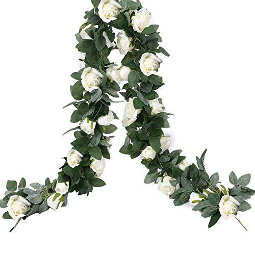 (HEBE 2 Pack Artificial Rose Vine Silk Rose Flower Garland Hanging Baskets Plants Home Outdoor Wedding Arch Garden Wall Decor,White)