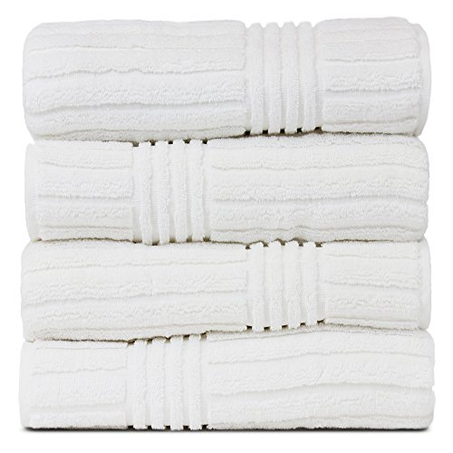 BC BARE COTTON Luxury Hotel & Spa 100% Natural Turkish Cotton Ribbed Channel Pattern Bath Towel (Set of 4)
