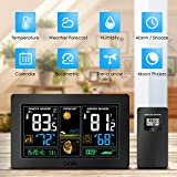 GBlife Wireless Weather Forecast Station, Digital Indoor Outdoor Thermometer,Remote Sensor,Color Display,Barometer Temperature Alerts, Humidity Monitor,Alarm Clock