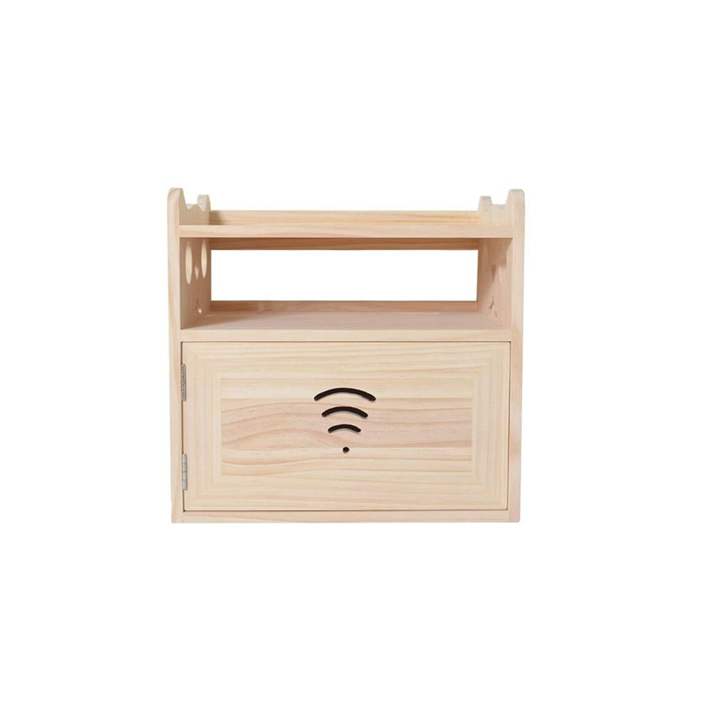Creative Rack Wireless Router Hanging Storage Box WiFi Shelf Rack Desktop Solid Wood Wire Finishing Box Wall-Mounted Storage Shelf Storage Yixin (Color : A, Size : 36.52435cm)