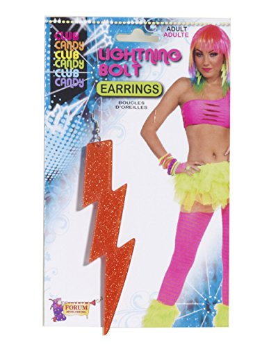 [Forum Novelties Women's Neon Orange Lightning Bolt Earrings] (80s Earrings)