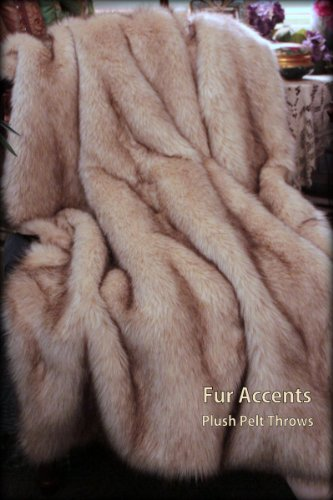 Fur Accents Arctic Fox Fur Throw Blanket White with Brown Ti